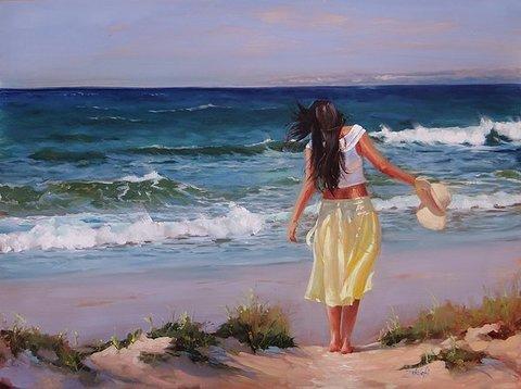 Картина раскраска по номерам 40x50 Девушка с шляпок на берегу