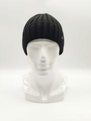 Мужская трикотажная шапка по голове, с отворотом, крупная вязка, черная