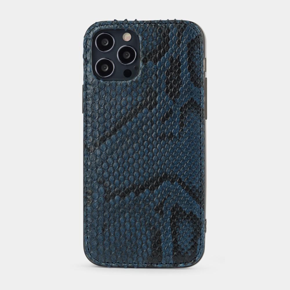 Чехол-накладка для iPhone 12/12Pro из натуральной кожи питона, синего цвета
