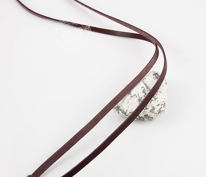 PL275-2 Коричневый шнур - полоска из натуральной кожи с застежкой фото 03