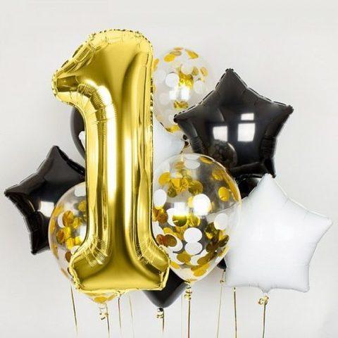 Облако из воздушных шаров На день рождения с цифрой золото