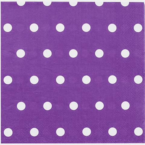 1502-3932 Салфетки Горошек фиолетовые 33см, 12шт