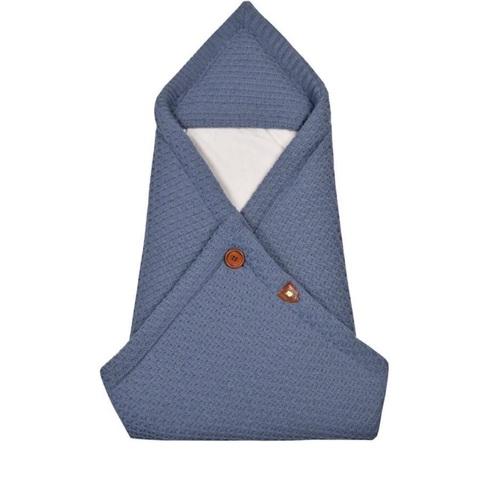 Вязаный конверт - плед  для новорожденного OSCAR джинс