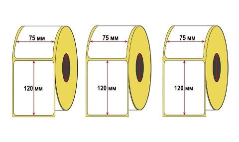 Набор 3 рулона Термоэтикетка для OZON 75x120 мм ЭКО (1 рулон = 250 шт) втулка 40 мм