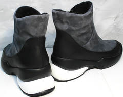 Купить зимние полусапожки женские Jina 7195 Leather Black-Gray