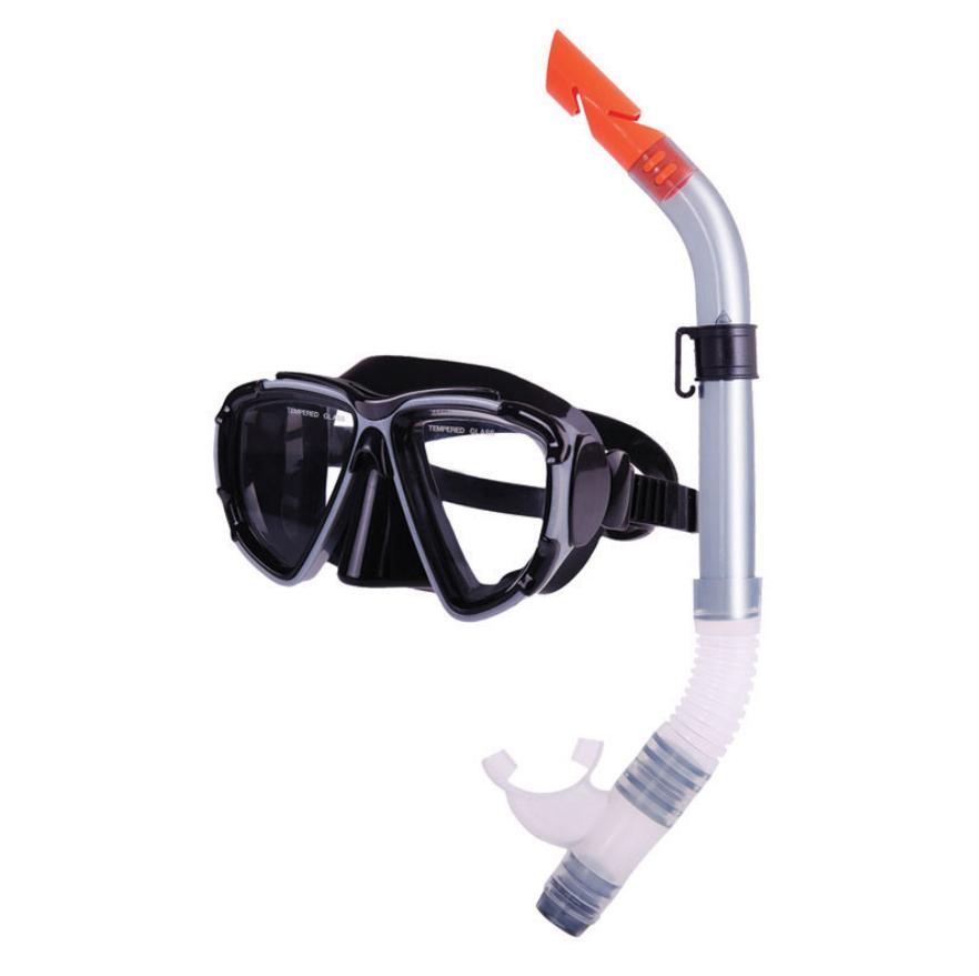 Combo set w/ silicone mask & silicone snorkel, black-silver