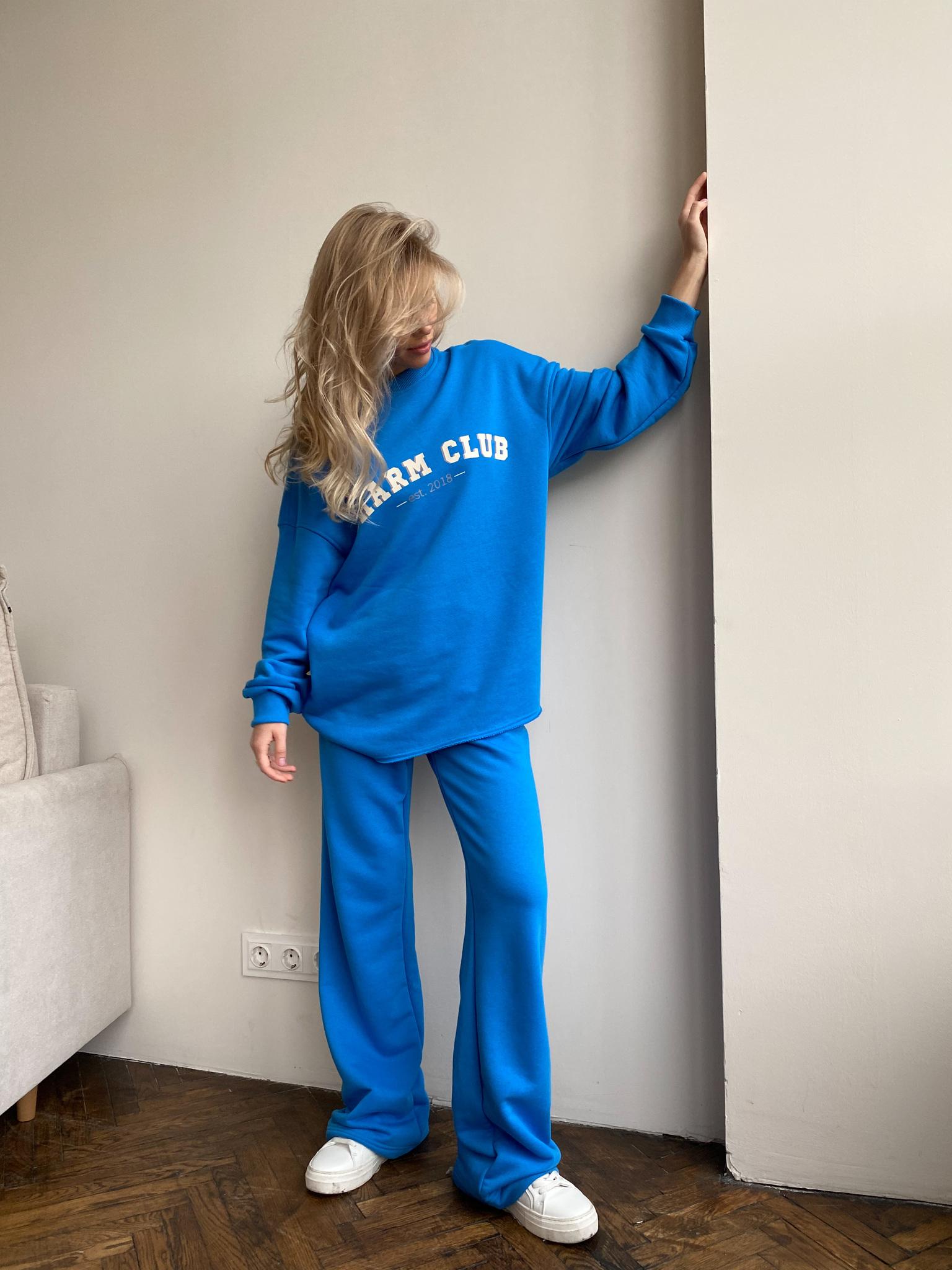 Костюм: Свитшот с принтом+брюки на завязках (ярко-синий)