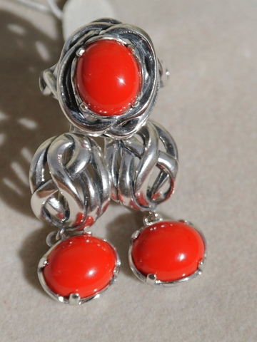 Лорелея (кольцо + серьги из серебра)