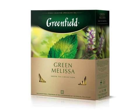 Чай зеленый в пакетиках из фольги Greenfield Green Melissa, 100 пак/уп