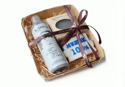 Набор подарочный для мужчин БЛЭK ДЖЕК (пенка д/душа, твердый шампунь,мыло100%мужик)/ТМ Chocolatte / НОВАЯ УПАКОВКА - деревеянный лоток