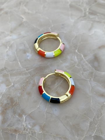 Серьги-колечки из позолоченного серебра, разноцветная эмаль