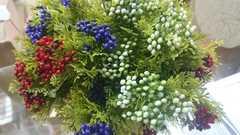 Искусственная зелень можжевельник с ягодами, букет 5 веток, 30 см.