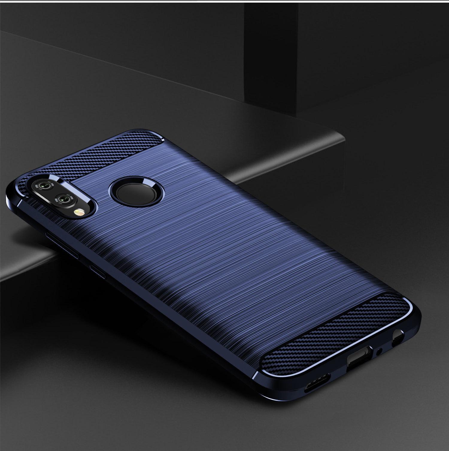 Чехол для Huawei Honor 10 lite (P Smart 2019 и Nova Lite3) цвет синий, серия Carbon, Caseport