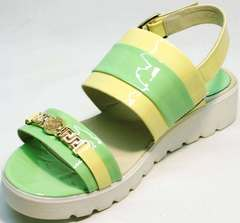 Сандали летние женские босоножки на толстой белой подошве Crisma 784 Yellow Green.