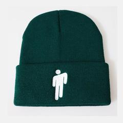 Вязаная шапка с отворотом и вышивкой Билли Айлиш (Billie Eilish) зеленая