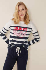 Довга піжама «Рожева пантера» з принтом в морському стилі