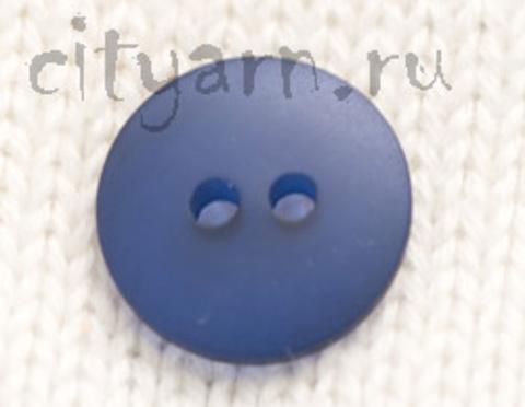 Пуговица полупрозрачная, плоская, синяя, диаметр 14 мм