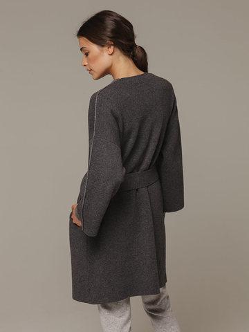 Женский серый кардиган на поясе из шерсти и кашемира - фото 3