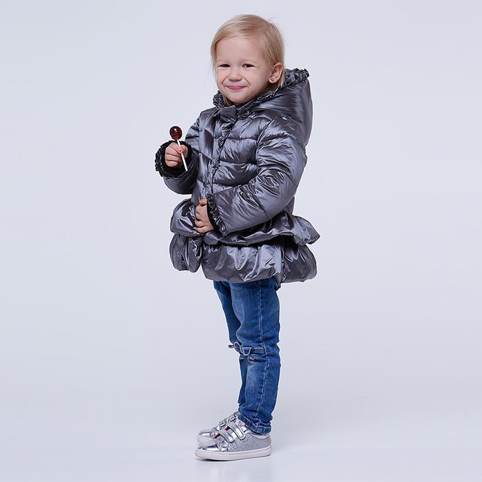 Однотонна демісезонна дитяча куртка сірого кольору