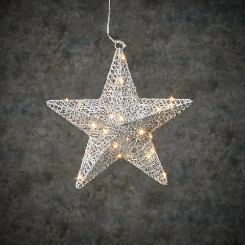 Подвесная объемная звезда серебро на батарейках