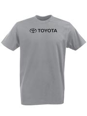 Футболка с принтом Тойота  (Toyota) серая 001