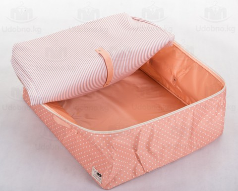 Мягкий большой кофр для объемных вещей, XL, 63*48*28 см (розовый в горошек)