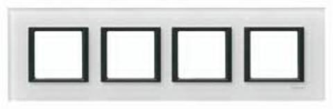 Рамка на 4 поста. Цвет Белое стекло. Schneider electric Unica Class. MGU68.008.7C2