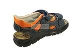 Детские сандалии Котофей 522053-22 из натуральной кожи, для мальчика, сине-оранжевые. Изображение 3 из 10.