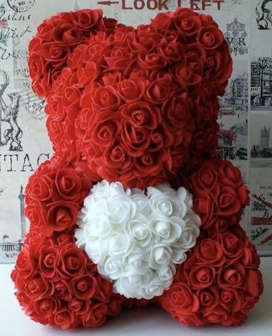 Мишка из роз 40 см в подарочной коробке #2627