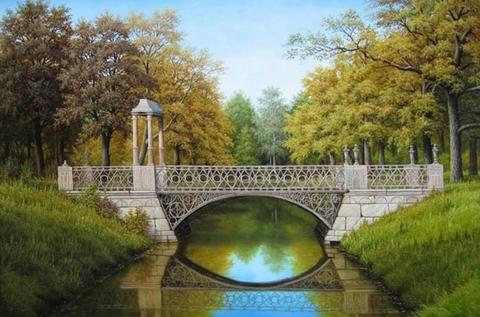 Картина раскраска по номерам 40x50 Мост над рекой в лесу
