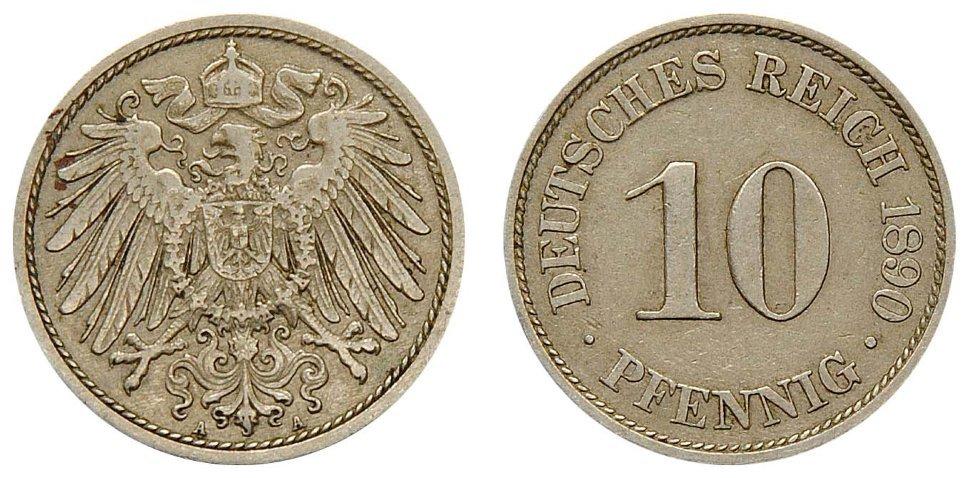 10 пфеннигов. Германия. 1890-1916 гг. Случайный год. VF