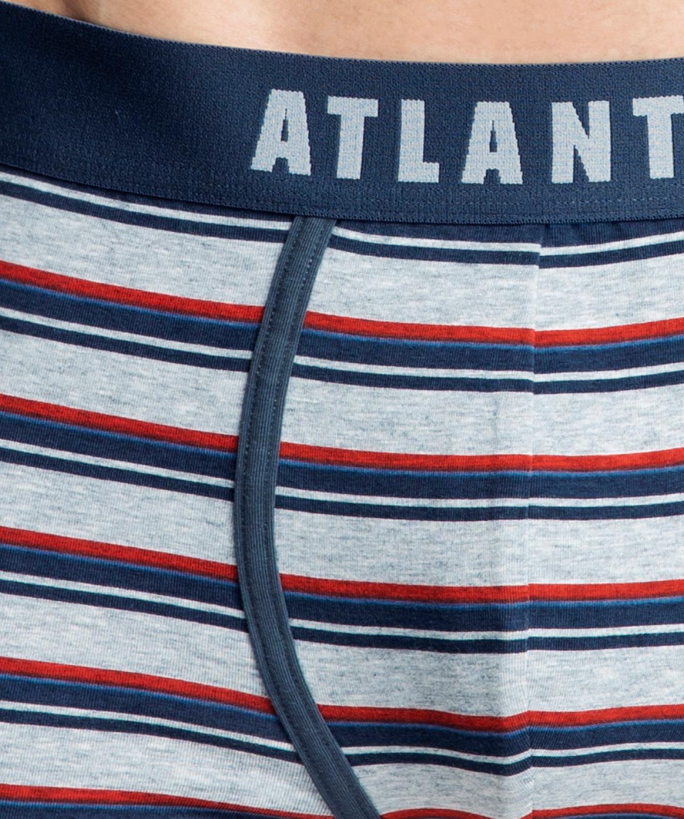 Мужские трусы шорты Atlantic, набор из 2 шт., хлопок, серый меланж + синие, 2MH-1184