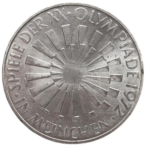 10 марок 1972 (D) XX летние Олимпийские игры в Мюнхене, ФРГ (Эмблема, надпись в Мюнхене). XF-AU