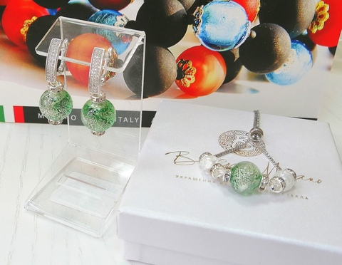 Комплект из браслета и серег со стразами Daniella Ca'D'oro Medio Emerald Silver 030OB