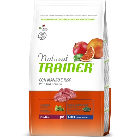Сухой корм Trainer Natural Dog Medium Adult - Beef and Rice 12 кг.