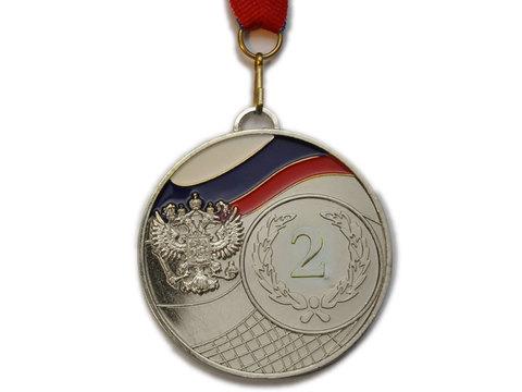 Медаль спортивная с лентой за 2 место. Диаметр 6,5 см: 1502-2