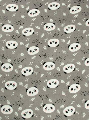 Чудо-Чадо. Плед Флисенок 120х85 см, серый/панды-мордашки