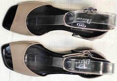Бежевые лаковые босоножки натуральная кожа Derem 602-464-7674 Beige Black.