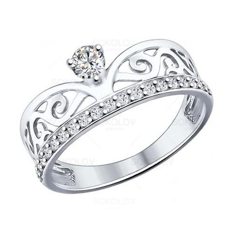 94012036 - Кольцо из серебра с фианитами
