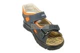 Детские сандалии Котофей 522053-22 из натуральной кожи, для мальчика, сине-оранжевые. Изображение 4 из 10.