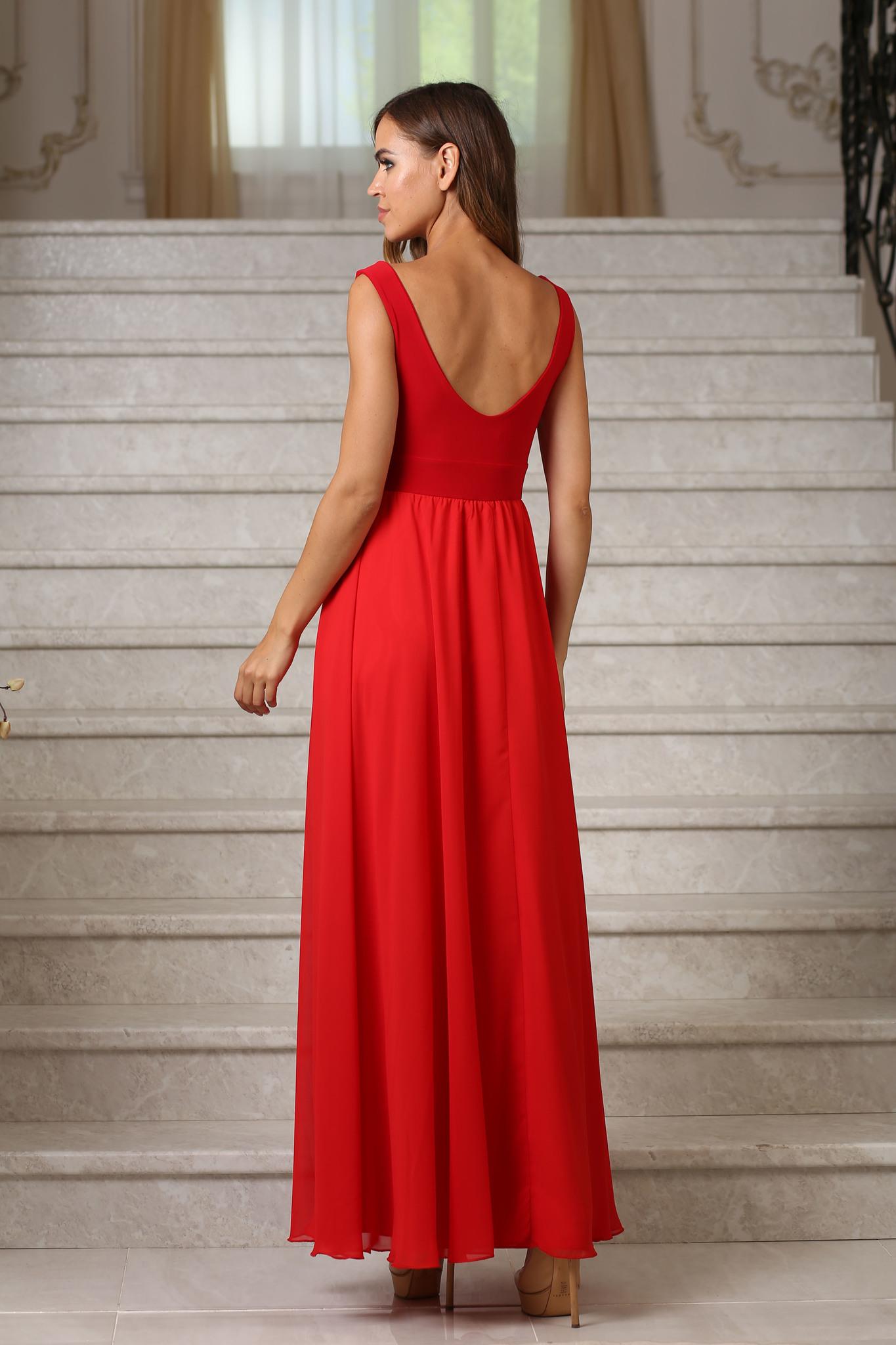 Вечернее длинное шифоновое платье, красное