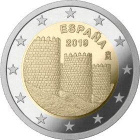 2 евро Испания - Старый город Авила. 2019 год