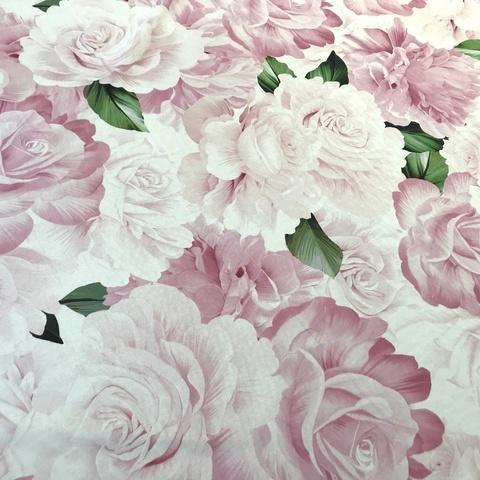 Ткань шелк матовый  с эластаном розовыми розами 1099