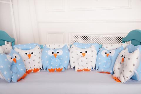 Защита в кроватку от комплекта Совушки 12 шт 09-01-01 Для мальчика Бязь бело-голубой