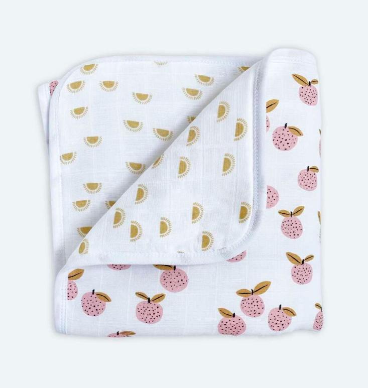 Муслиновое лёгкое одеяло ПЕРСИКИ