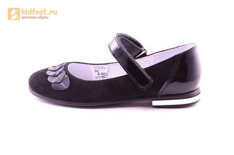 Туфли для девочек из натуральной кожи и велюра на липучке Лель (LEL), цвет черный. Изображение 3 из 17.
