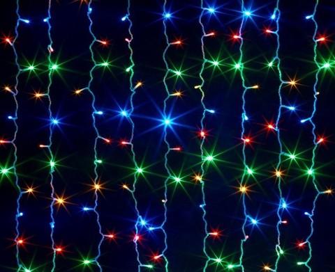 Новогодняя светодиодная LED гирлянда Штора на окно (занавес)  300х300см разноцветная