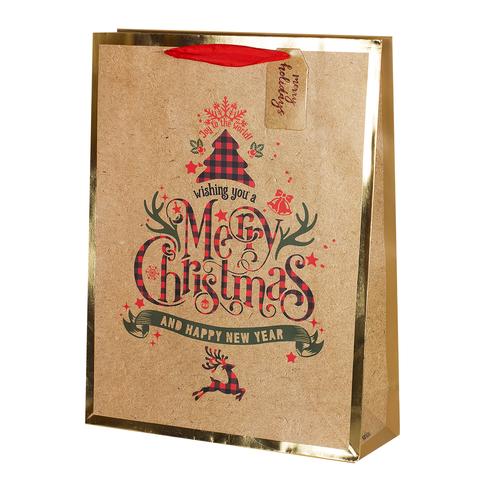 Пакет подарочный Крафт Deer 32*42*11.5 1