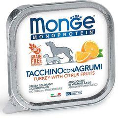 Консервы для собак, Monge Dog Monoprotein Fruits, паштет из индейкой с цитрусовыми