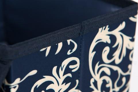 Малый складной кофр, 24*15*15 см (темно-синий с узорами)